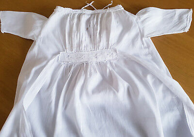 Vintage Edwardian child nightdress white cotton muslin