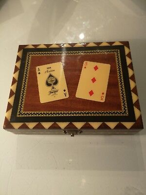 Vintage WOODEN JEWELLERY/Trinket/Card BOX Inlaid Wood & Playing Cards.
