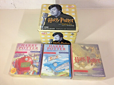 Harry Potter Audio Books Casette Read By Stephen Fry Limited Edition Tin 3 Books