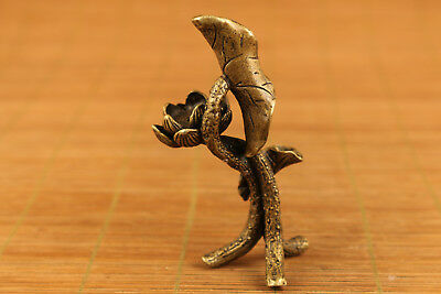 chinese old bronze hand carved lotus statue Incense inserted desk ornament