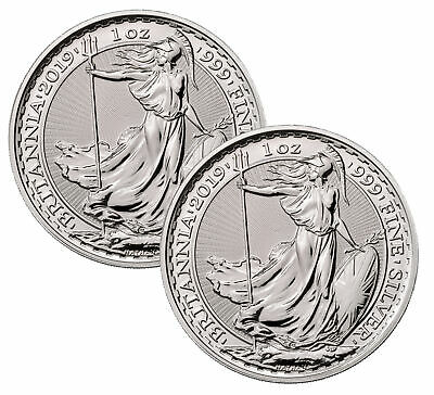 Lot of 2 - 2019 Great Britain 1oz Silver Britannia .999 BU