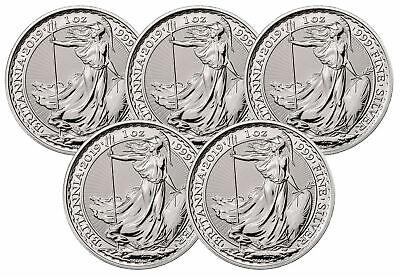 Lot of 5 - 2019 Great Britain 1oz Silver Britannia .999 BU