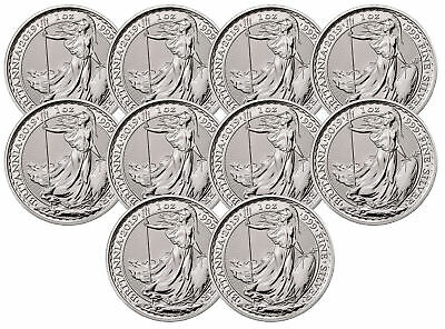 Lot of 10 - 2019 Great Britain 1oz Silver Britannia .999 BU