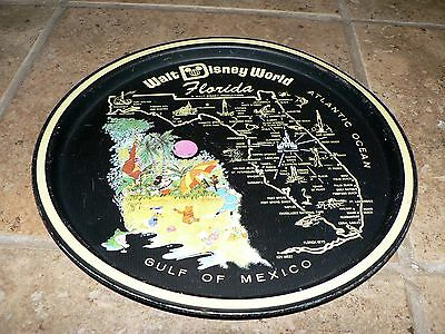 Vtg Walt Disney World Tray State Map Florida Collector Toleware Tin Tray Plate