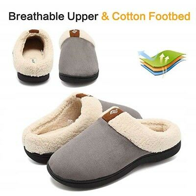 Womens Winter Slippers Warm Fur Lined Soft Rubber Sole Indoor Non-slip Shoes Hot