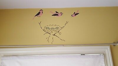 Chickadees and nest wall stencil