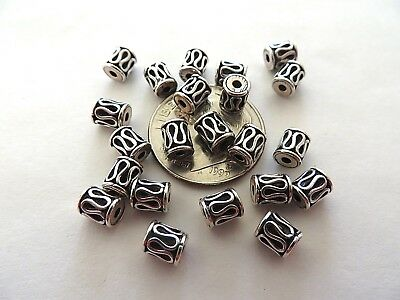 4 Bali Sterling Silver Lariat Drum Beads 5mm