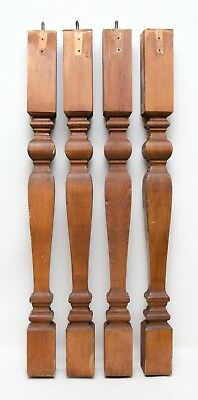"""4 Vintage Wooden Staircase Stair Post Rod Baluster Pine Wood 29"""""""