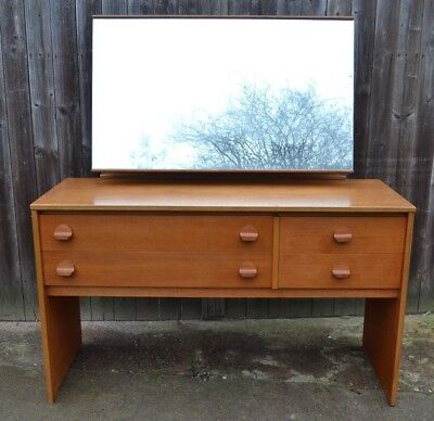 Mid Century Stag Teak Dressing Table with Mirror 60s Retro Writing Desk Drawers