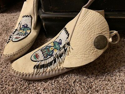 Vintage White Leather Beaded Moccasins