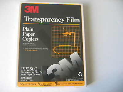 """3M PP2500 100 SHEETS Transparency Film For Copiers 8 1/2"""" x 11"""" New, Sealed"""