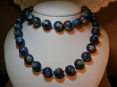 Antique Chinese cloisonne beads necklace, QING