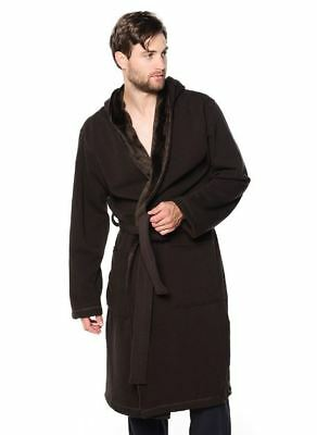 7f7828986c7 NWT UGG MEN'S BRUNSWICK Hooded Soft Fleece Plush Bath Robe NAVY BLUE ...