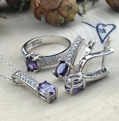 925 Sterling Silver AAA Quality Jewelry Uruguay Amethyst Ladie's Full Set