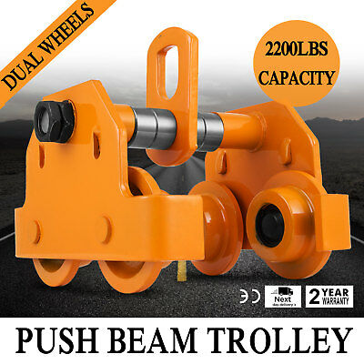 1 Ton Push Beam Trolley Adjustable Washers Included Solid Steel