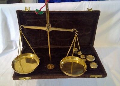 Vintage Portable Boxed Brass - Apothecary-  Jewellery Scales