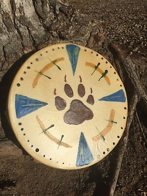 "Native American Wolf Drum 10"" Hand drum pow wow indian Wood Pigment Paint"