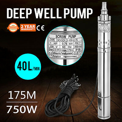 750w  Borehole Deep Well Submersible Water Pump 2850RPM 15m Cable Borehole