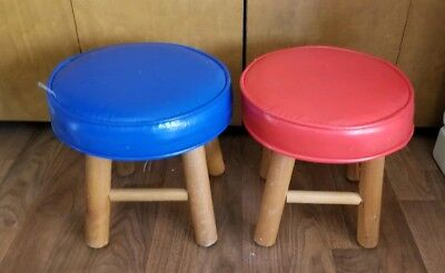 2 vtg Round Foot Stool Brown Vinyl Wooden Legs Child Seat RED BLUE