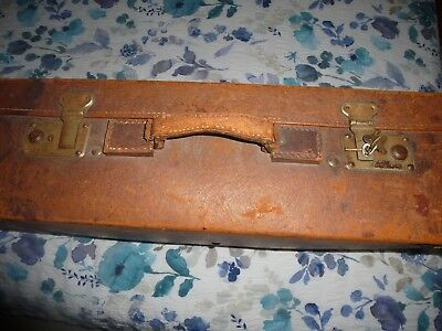 "Vintage Brown Suitcase With Working Locks & Keys 23"" x 15"" x 8"" Approximately"