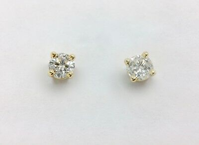 1/2ct Round Brilliant Diamond Solitaire Stud Earrings 14k Yellow Gold 585 FMG...