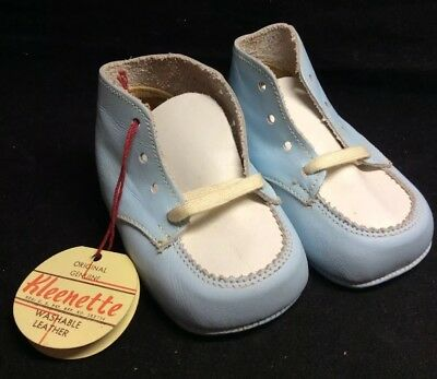 """NOS Vtg BABY SHOES~White & Baby Blue Leather Kleenette Shoes~ Sz 3 ~4"""" Long (X8)"""
