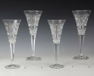 4 WATERFORD Millennium Prosperity Wheat Crystal Champagne Flute Wine Glasses AGD