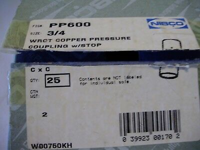 "25 Pcs NIBCO PP-600 3/4"" Copper Coupling With Dimple Stop + FREE SHIPPING"
