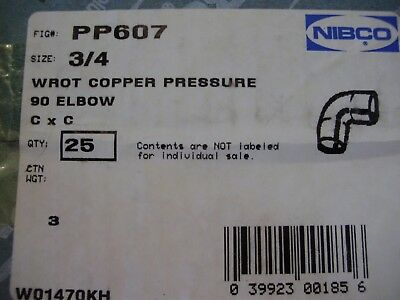 """NEW Nibco ¾"""" Wrot Copper Pressure 90 Elbow-Box of 25"""
