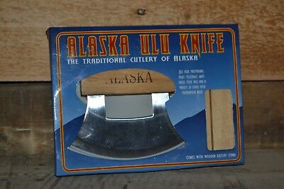 Alaska Ulu Knife Eagle Etched with Wood Display Stand – New in Box