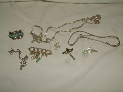 Sterling Silver 925 Jewelry lot  1 Bat Ami Turquoise earring, chains, pins etc