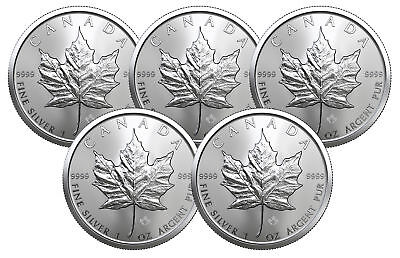 Lot of  5 - 2019 $5 1oz Silver Canadian Maple Leaf .9999 BU