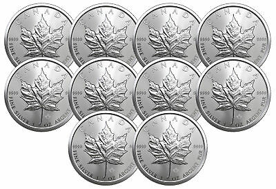 Lot of 10 - 2019 $5 1oz Silver Canadian Maple Leaf .9999 BU