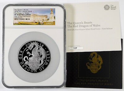2018 Great Britain £ 10 Dragon 5 oz Silver- NGC PF 70 UC - 1 Of 1st 250 Struck
