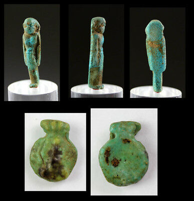 *sc* Pair Of Intact Egyptian Faiance Amulets, Amulet Of Isis & Bes!