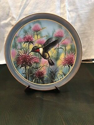 Moments in the Garden RUBY TREASURES Plate #1 Hummingbird Floral Cynthie Fisher
