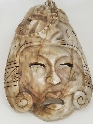 Vintage Antique Pre Columbian Style Large Carved Stone Olmec Mayan Gecko Mask
