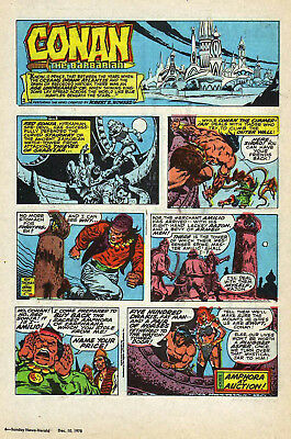 Conan the Barbarian by Roy Thomas - full page color Sunday comic - Dec. 10, 1978