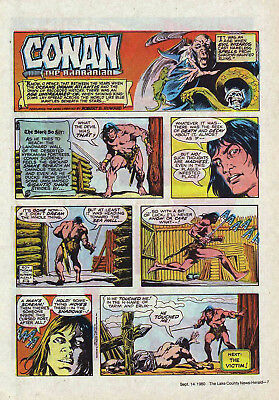 Conan the Barbarian by Roy Thomas - full page color Sunday comic, Sept. 14, 1980