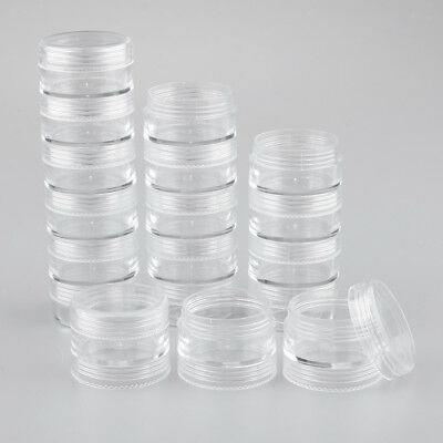 Lots 18 Empty Storage Box Stackable Clear Container Beads Craft Findings Jar