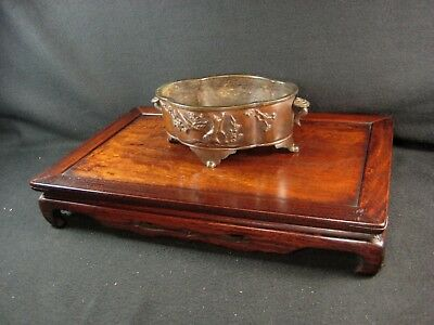 Vintage Japanese 90 Yr Old Taisho Era Black Rosewood  Ikebana Or Bonsai Stand