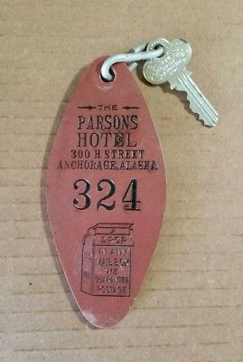 The Parsons Hotel,Anchorage,AK.,Room Key & Fob,1910's-20's