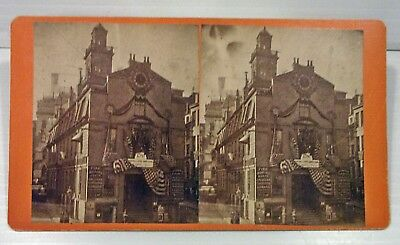 """Antique 1880 """"old Boston Statehouse"""" Stereoview - 1780 Mass. State Constitution"""