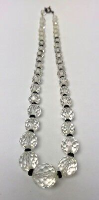 Antique Vtg CLEAR & BLACK CUT Glass CRYSTAL BEADS-Sterling Sliver Chain Necklace