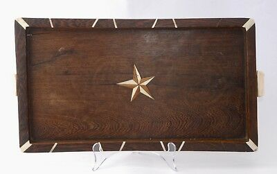 Vintage French Wooden and Bone Inlaid Serving Tray - Star Centre (42cm x 21.6cm)