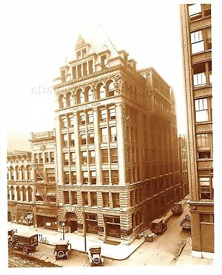 Vintage Indianapolis Indiana Photo Commercial Building Early View Bank 1921 Town