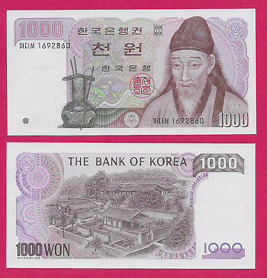 Korea South Rep 1,000 Won  1983 Unc Yi Hwang At Right.one Raised Colored Dot For
