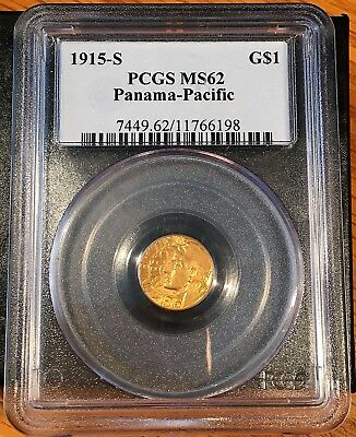 1915-S Panama - Pacific $1 Gold PCGS MS62 - High Quality Scans #6198
