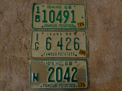 1968-1971 IDAHO License Plate Collectible Antique Vintage Total of 3 Wall Hanger