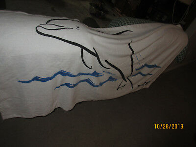 Wyland Designed, Signed, Dolphin Beach Towel- Washed Once, Never Used